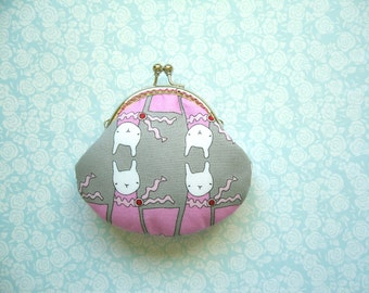 Handmade coin purse - Ric Rac Rabbits in Grey with kiss clasp frame, Handmade Gift, Birthday Gift