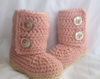Baby Girl Crochet Baby Boots Pink