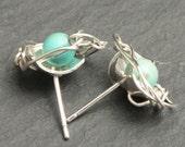 Turquoise Robin's Egg Nest Stud Sterling Silver Earrings