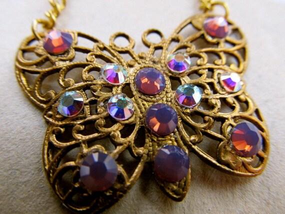 Art Nouveau Necklace Set Swarovski Crystal Butterfly Necklace Filigree Necklace Set- Flitter