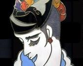 Vintage Cloisonne Enameled Lady Brooch