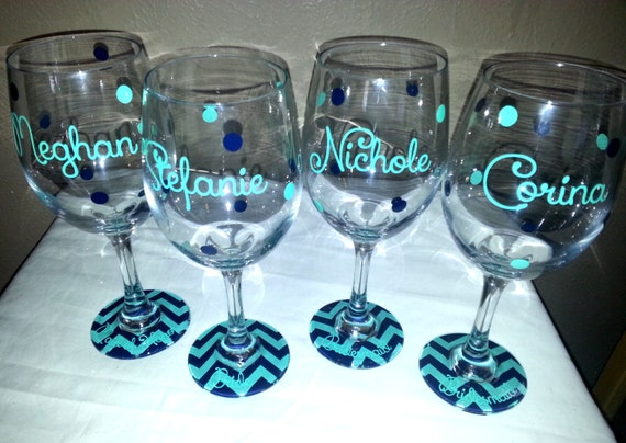 Set of 4 Personalized Chevron base Bridesmaid wine glasses.