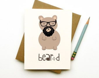 bear beard doodle card hipster totem animal in glasses