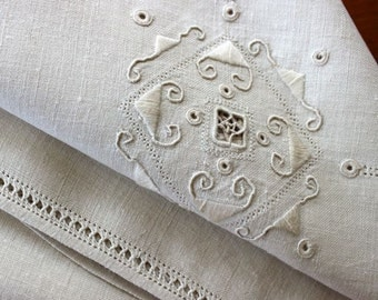 Vintage Linen Tablecloth Topper Italian Lace Embroidery Drawnwork Table Cloth