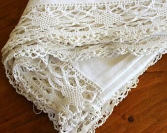 Antique Linen Bed Spread Coverlet Vintage Hand Crochet Double Queen Crochet Tablecloth Drawnwork