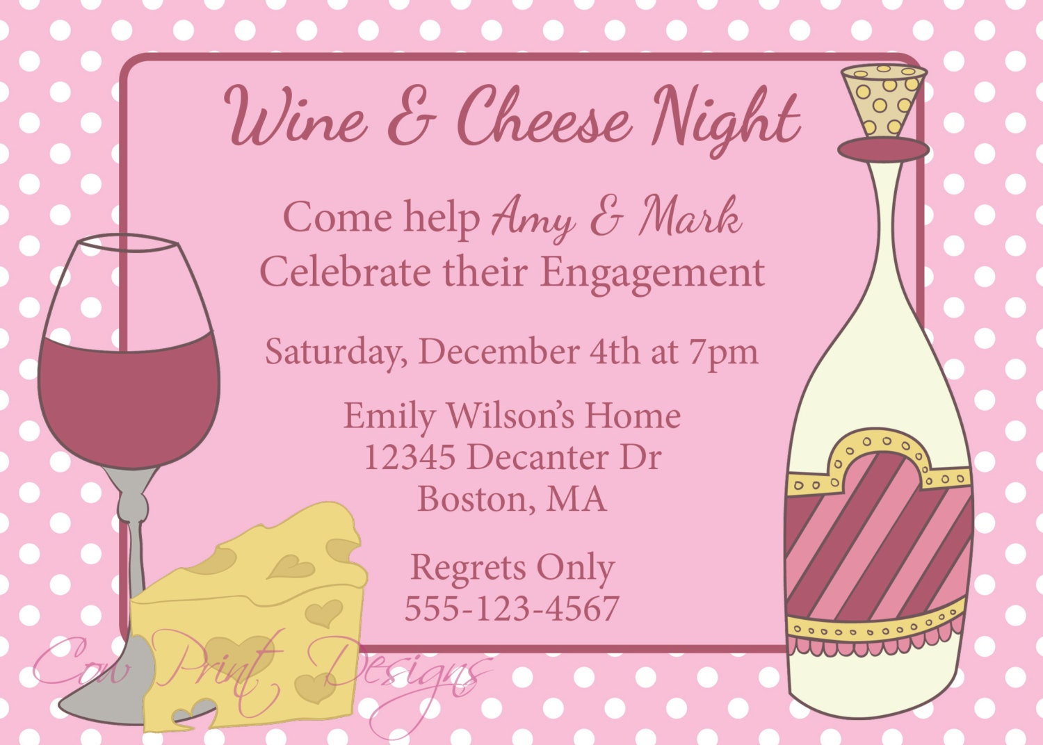 Wine and Cheese Party Invitation Engagement Party Invite Wine