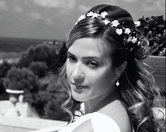 51_Vine accessories, Headband vine, Floral vine headband, White vine headpiece Hair accessories vine, Bridal wedding hairpiece Wedding crown