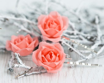 71_Coral hair accessories, Wedding hair pins, Rose pins, Flower clips, Flower barrettes, Hair accessories, Pink wedding, Hair pins flowers.