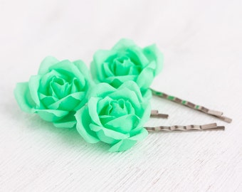 71_Mint wedding, Hair pins flowers, Flower pins, Rose pins, Flower hair accessories, Green wedding, Flower clips, Flower barrette, Hair clip