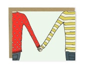 Love Card / Anniversary Card - Holding Hands Illustration - Illustrated Card, Thank You Card, Couple Card, Friend Card, Notecard, Blank Card