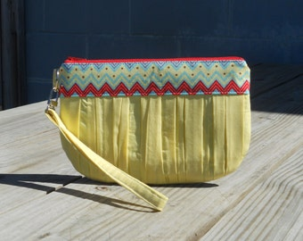 SALE- Wristlet, Yellow Ruched Clutch, Wristlet Purse, Geometric Pirnt Purse, One of a Kind