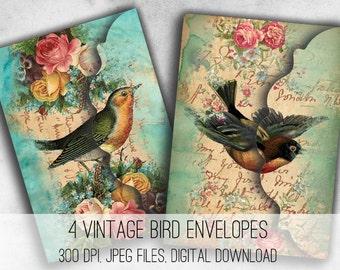 Digital Collage Sheet Download - Vintage Birds Envelopes -  1034  - Digital Paper - Instant Download Printables