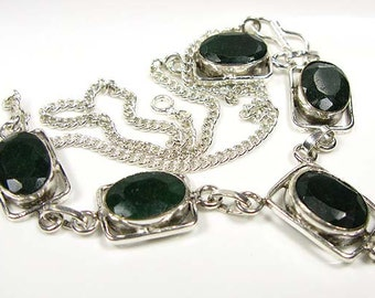 Valentine Gift. ..Emerald Green Quartz and Silver Necklace