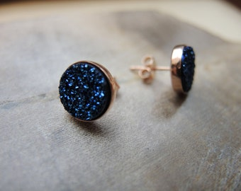 Blue Druzy Studs, Rose Gold Studs, Druzy Earrings, 18K Rose Gold Vermeil Bezel Studs 10mm, Druzy Stud Earrings, Druzy Jewelry Gifts For Her