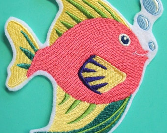 Large Embroidered Colorful Fish Applique Patch, Beach Applique, Seashore, Seaside, Ocean, Sun-sational Fish Applique,Iron On or Sew On, No.4