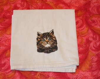 Machine Embroidered Kitten Flour-sack+ Dish Towel