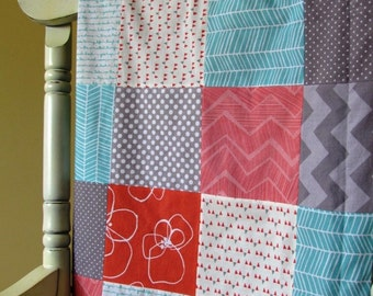 Aqua, Coral and Grey Patchwork Blanket    Baby Girl Blanket    Modern Patchwork Blanket with Grey Minky