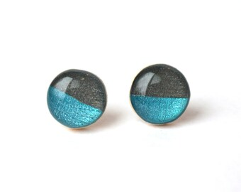 Colorblock Blue and Grey Stud Earrings. Unique Wood Earrings. Wood Jewelry. Blue Studs. Grey Studs. Starlight woods