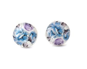 Purple and Blue Floral Stud Earrings. Purple studs. Wood Earrings. Wood Studs. Wood Jewelry. Floral Stud Earrings.