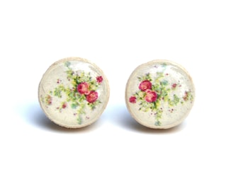 White flower stud earrings. Floral stud earring. Flower studs. Wood earrings. Wood stud earrings. Starlight Woods