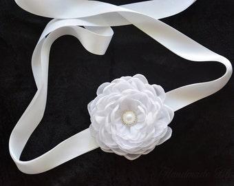 Bridal Sash Belt, White, Wedding Flower Belt, Dress gown sash,  Ivory Chiffon Flower, Flower Headband