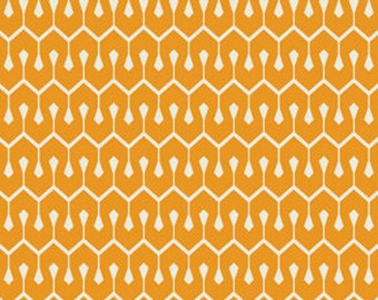 Heather Bailey True Colors -Tangerine Orange New Wave - 1/2 yard cotton quilt fabric 516