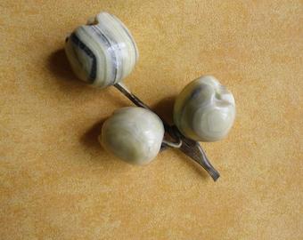 Vintage Stone Fruit - Branch with 3 Marble Fruit, Stone Apples, Alabaster Fruit