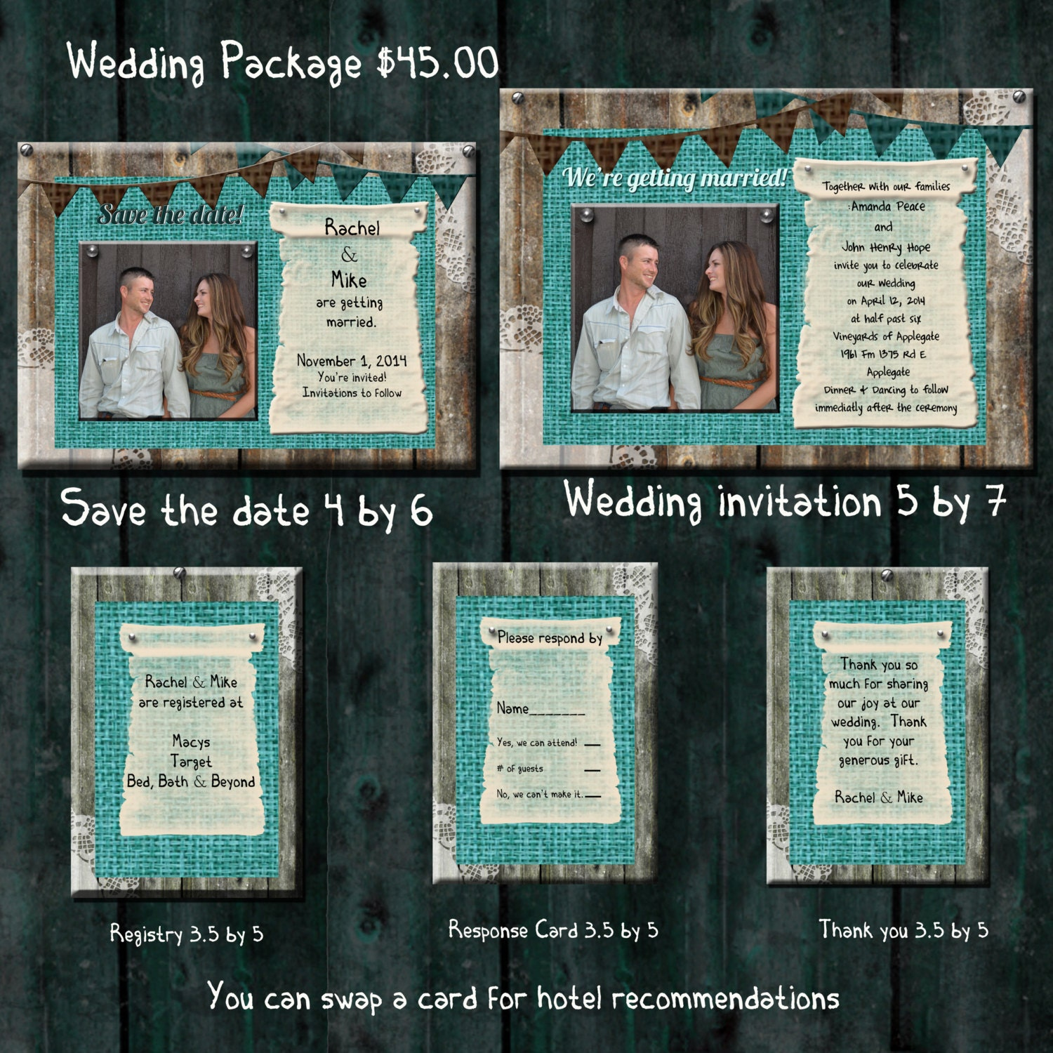 Cheap Wedding Invitations Packages: Teal Burlap Wedding Invitation Package Save The Date