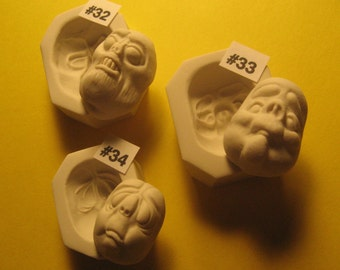 YOUR CHOICE - Rigid Polymer Clay Push Press Molds of Creepy Character Doll Face Cabs
