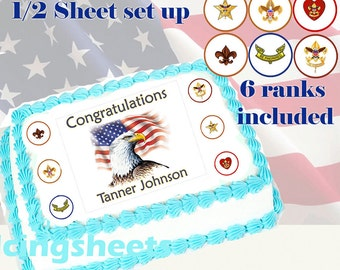 Eagle Scout Boy ranks Edible icing custom cake transfer decal  decorations frosting top 1/2 sheet set up 2
