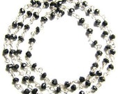 Black Spinel Rosary Chain Beads 18 Inches Sterling Silver Chain 3.5-4mm Semiprecious Faceted Gemstone Chain Take 10% Off Jewelry Supply Bead