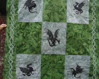 Dragon Lap Quilt - Twin Coverlet - Celtic Knot - Dragon Art - Applique Quilting