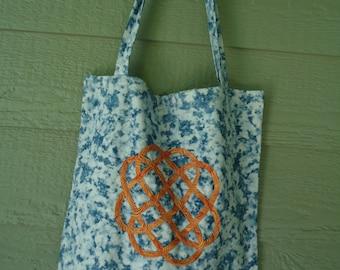 Celtic Knot Tote Bag, Celtic Knotwork, Fiber Art
