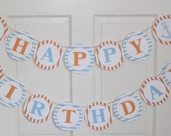 PREPPY NAUTICAL Theme Happy Birthday or Baby Shower Party Banner Light Blue Orange - Party Packs Available