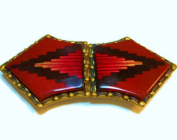 Dress or Belt Buckle - celluloid and brass Art Deco made in Germany 1920s