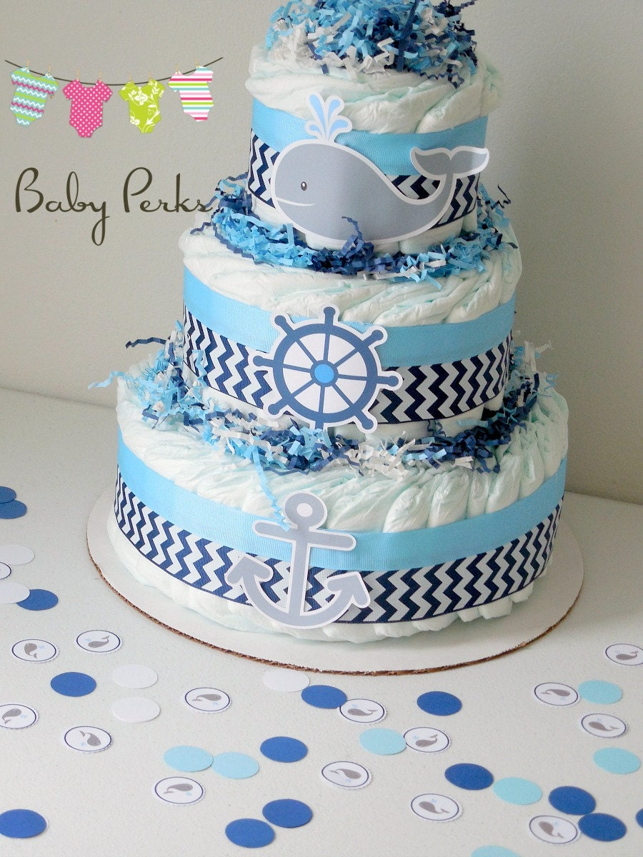Nautical baby shower centerpieces nautical diaper cake for Baby shower diaper decoration