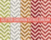 Orange Glitter, Chevron Glitter, Digital Papers, Glitter Digital, Glitter Papers, Glitter Textures, Glitter Backgrounds