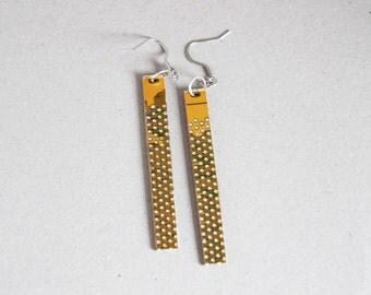 Long earrings - Circuit board earrings - geekery - yellow dotted earrings - recycled computer