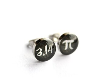 PI post earrings, Surgical steel studs, Math earring stud, science earrings, mens earrings, gift for him, Tiny earring studs