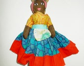 Vintage Doll Jamaican Folk Art Cloth Doll