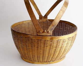 Vintage Brass Basket Woven Gatco Solid Brass Basket Made in India