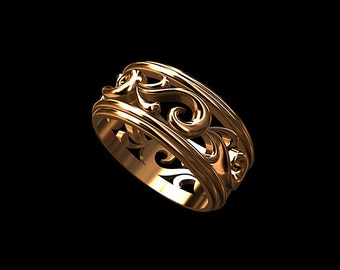 Solid 14K Rose/Pink Gold Men's Eternity Floral Wedding Band Ring 8.5mm Wide