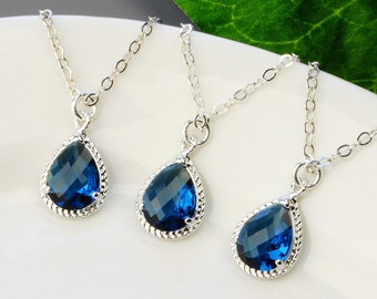 Navy Blue Necklaces SET OF 4 - Sapphire Blue Necklace - Blue Bridesmaid Necklace - Silver Blue Teardrop Pendant Necklace - Wedding Jewelry