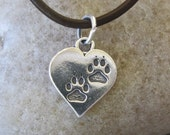 Paw Print Heart Charm Sterling Silver Bear Totem Cat  Dog 13 MM x 16 MM 1 Piece