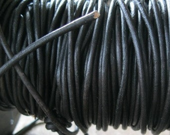 Leather Cord 1.5 MM Round Natural Dark Brown Lace 5 yards Almost Black