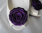 Handmade rose shoe clips in eggplant dark purple royal purple