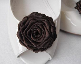 Handmade rose shoe clips in brown