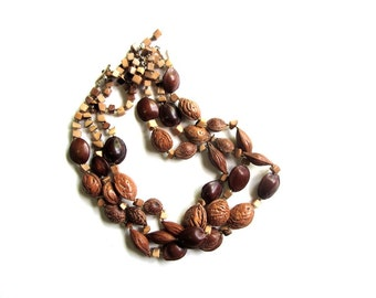 Vintage Caramel Amber Brown Multi Strand Summer Fruit Seedpod Stone and Pit Beaded Necklace Midcentury Japan