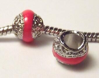 3 Beads - Bright Neon Pink Scroll Enamel Silver European Bead Charm E0977