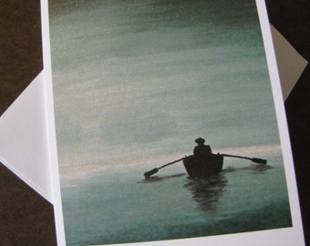 Fisherman Painting call of the loon FIne Art Any Occasion blank Greeting Card 5x7 with envelope